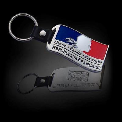 Porte-clé drapeau cuir et métal