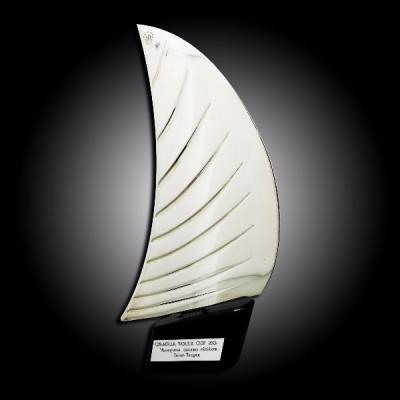 Trophée Voile Métal argenté et bois