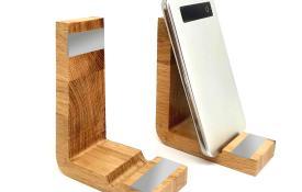 Porte GSM Epsilon en chêne massif français et en aluminium recyclable